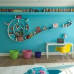 room decor with toy chair table buckets wall storage wood carpet window curtain books toys lamp