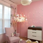 room decor with toy pink wall hanging lamp cabinet wall decor chair dolls window curtain carpet