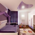 Room Decor With Toy Purple Toys Wall Lamps Carpet Wood Kids Room Cabinet Shelf Curtain Bed Ceiling Decor