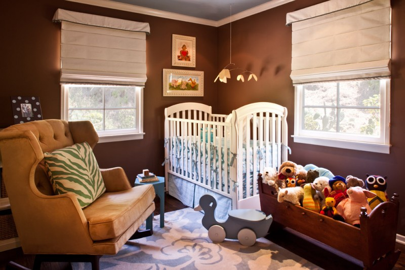 room decor with toy small size windows toys carpet brown wall sofa small table pictures baskets