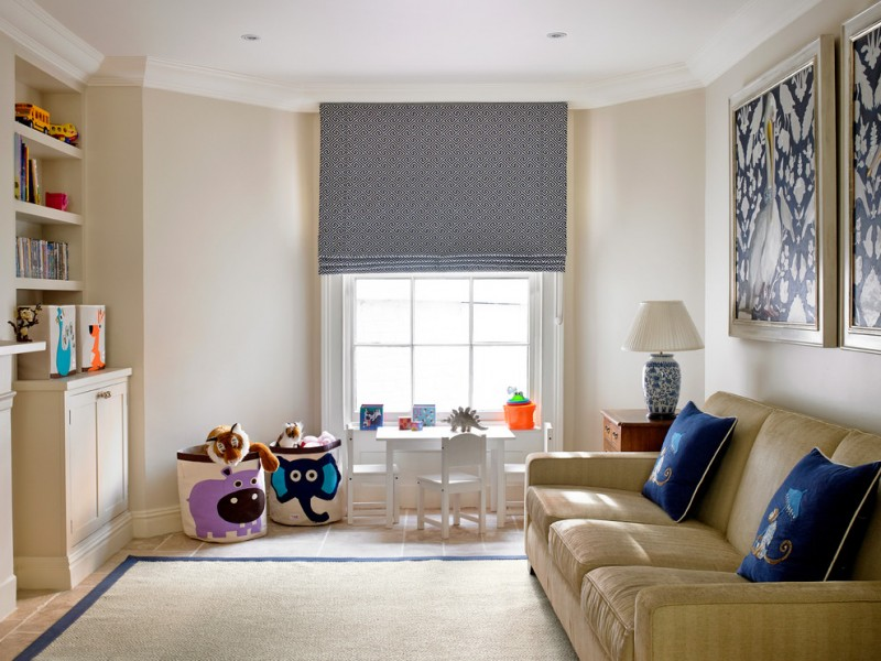 room decor with toy sofa pillows window wall decor curtain ceiling lamp cabinet books shelves toys
