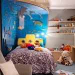 Room Decor With Toy Sofa Sea Stone Patterns Dolls Toys Ceiling Lamp Cabinets Marine Life Decor Books