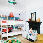 Room Decor With Toy Toys White Wall Ceiling Lamp Books Plane Dolls Bed Pillows Lighting Kids Room