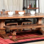 Rustic Dining Sets With Wooden Table, Wooden Bench, Two Wooden Chairs With Black Leathered Cushioin