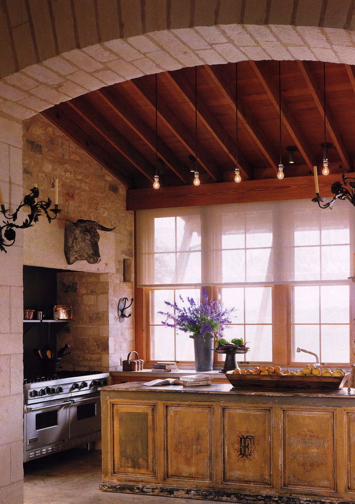 rustic kitchen idea with purple lavender cool shabby kitchen island stainless steel appliances half way window curtains stone walls