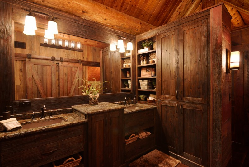 rustic wood powder room a pair of large rectangular sink and dark metal faucet permanent vanity with cabinets large vanity mirror vanity lightings