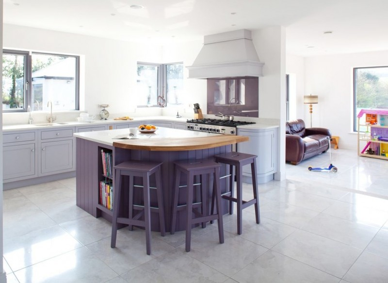 Simple Open Concept Kitchen Design With L Shape Grey Counter Purple Island Wood Top