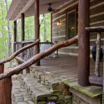 Simple Rustic Front Railings Idea Made Of Cool And Shabby Wooden Rustic Exterior Idea For Log Cabin