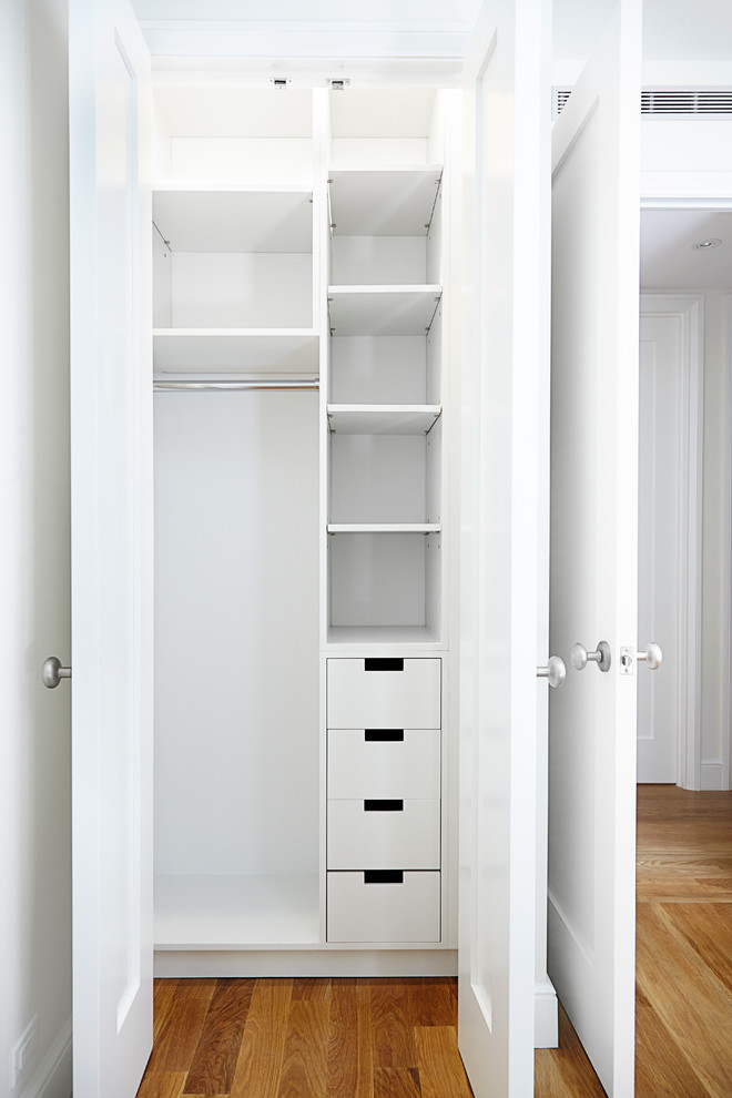 small and narrow closet organizer idea in white