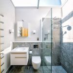 small bathoom with grey blue flooring and the shower wall and half bottom wall in toilet sink area, white toilet, white cabinet, clear glass ceiling