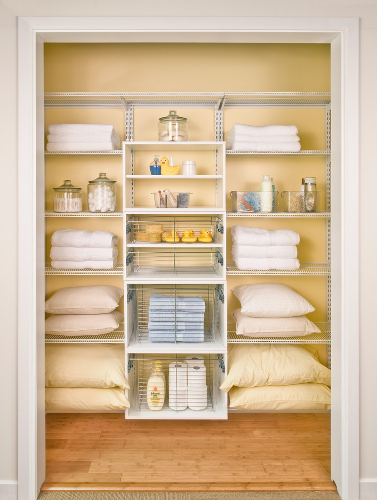 Small Closet Organizer Made Of Light Wire Material In White And Consisting  Of All Shelves For