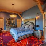 Soft Blue Bed Sheet Idea With White & Deep Blue Motifs Cool Shabby Bed With Golden Headboard Accented With Black Ornaments Cool Shabby Bedside Tables Colorful Area Rug Blue Walls