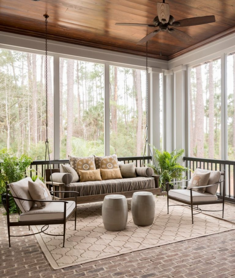 Enjoying the view around in the four season room decohoms for Large windows for sunroom