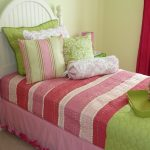 Teen Girls Bedroom Design With Sweet Colorful Bedding Treatment Light Yellow Walls Bold Pink Curtains White Painted Wooden Bed With Headboard