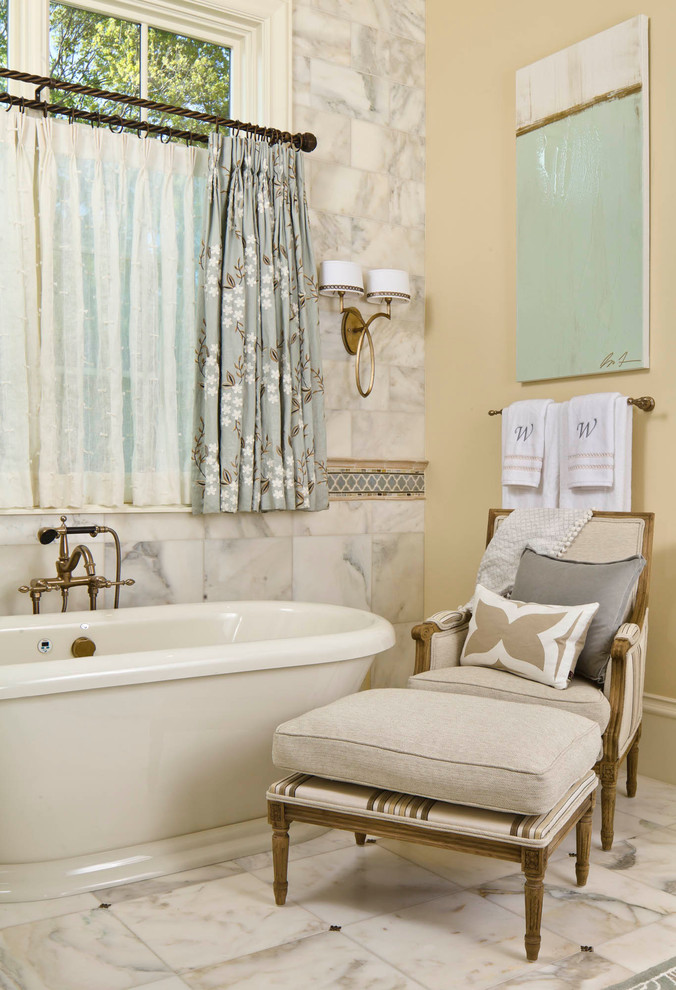 traditional bathroom design with double layers cafe curtains with hard metal rods free standing bath tub chair with comfy seater white ceramic floors and walls