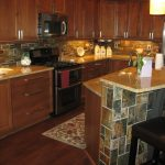Traditional Kitchen With Wood Flooring, Dark Wood Cabinet, Dark Wood Island, Tiles In Island, Tiles In Backsplash