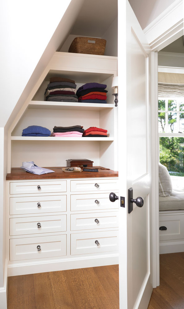 traditional recessed closet organizer in slanted wall