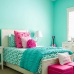 Turquoise Bed Sheet With Modern Motif Deep Turquoise Duvet With Texture Colorful Shams White Bedside Table A Couple Of Otoman Chairs In Deep Pink Soft Blue Walls White Working Desk And Chair