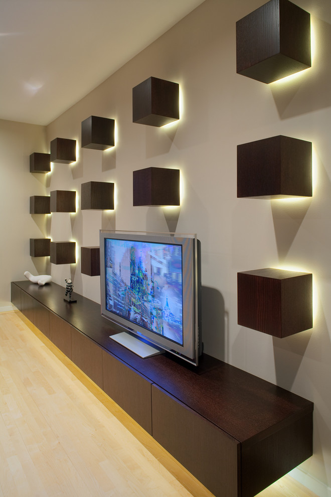 tv display decoration contemporary home theater boxes lights freestanding tv shelf interior design