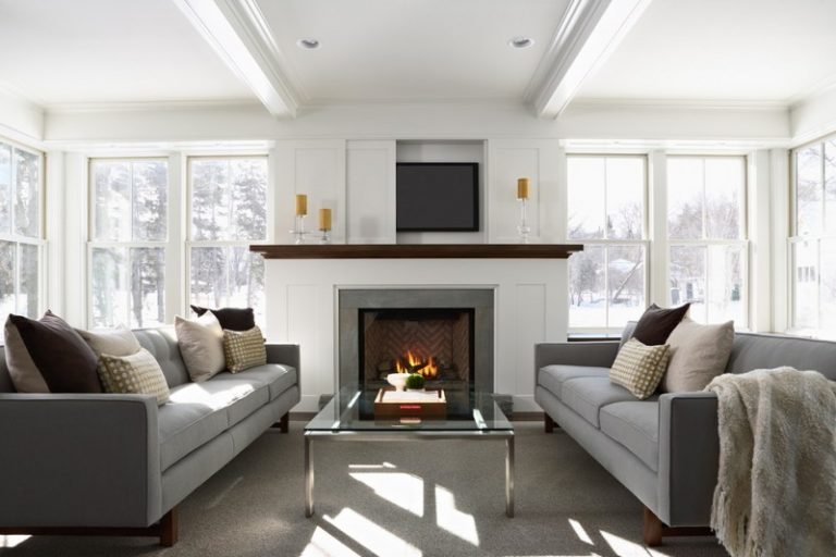 Tv Display Decoration Pop Up Television With Automated Lift Sofa Pillows  Windows Glass Fireplace Table Ceiling
