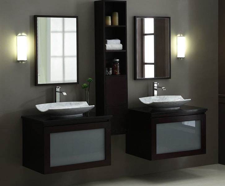 twin white sink with dark wood vanities and cabinet, mirror