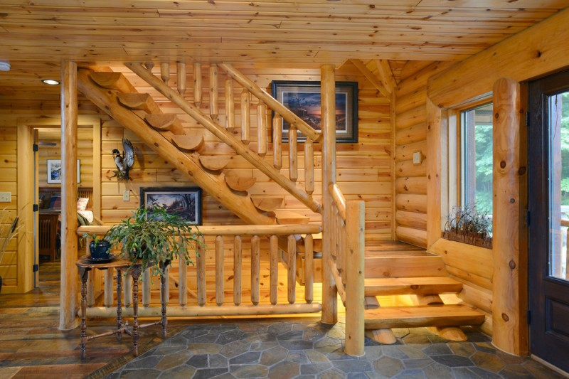 Astonishing Two Floor Stone And Log House Inspirations For