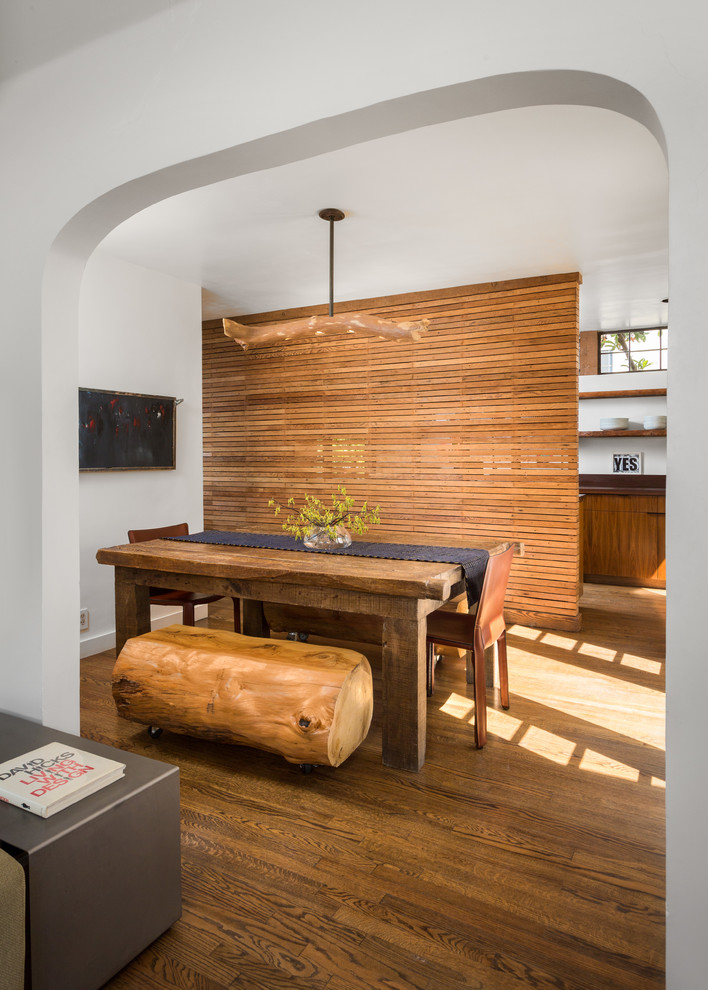 unique concept dining room with bamboos room partition hardwood dining table a couple of wood dining chairs a big log for seat