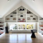 Walk In Closet Organizer For Lady's Shoes And White Cabinets Light Wood Color Flooring System Black Chair In Unique Shape