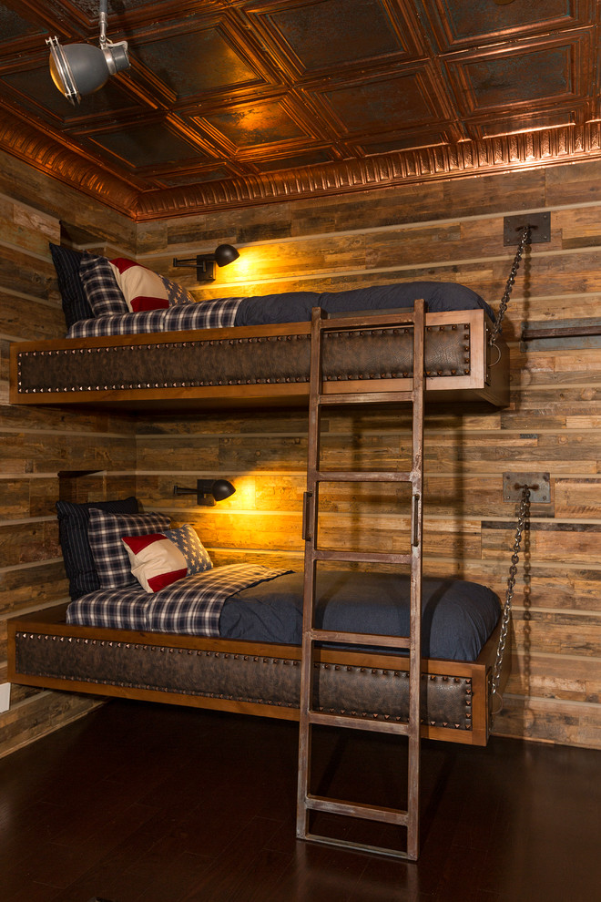 wall mounted bunk beds, with wooden frame with leather tufted accent, chains, copper stairs