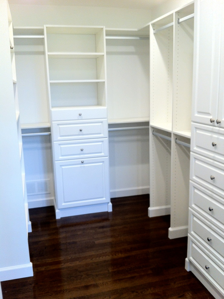 White Melamine Walk In Closet Organizer Consisting Adjustable Shelves Double  Hanging Sections Drawer System Dark Wood