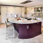 White Purple Theme Kitchen Idea Purple Kitchen Island With White Marble Top White Ceramic Floors White Shaker Cabinets White Cabinets Grey Backsplash White Cupboard Soft Grey Stools