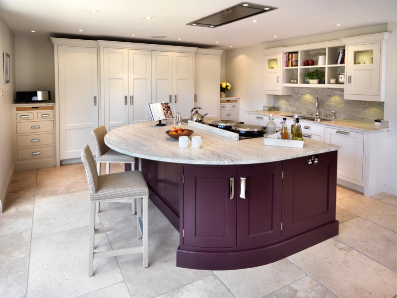 White Purple Theme Kitchen Idea Island With Marble Top Ceramic Floors