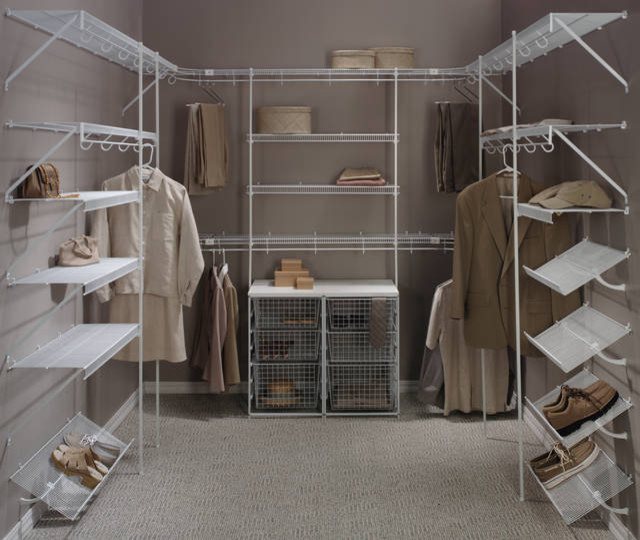 white wire made walk in closet organizer idea with boxes storage