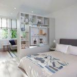 White Wooden Shelves Divider
