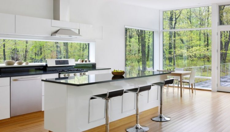 window outside finishing designs glass wood floor modern dining chairs dining table stove kitchen appliances
