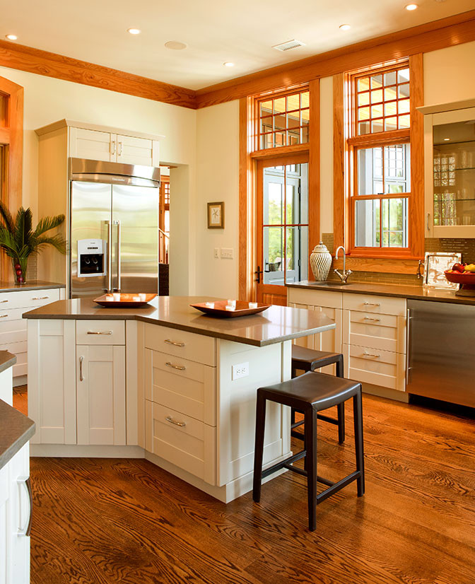 wood made kitchen idea angled mini bar single countertop white cabinets wooden flooring system glass windows with wood frames
