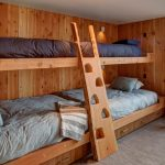 wooden bunk beds without rails, storage under, wooden storage