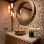 Wooden Cabinet, White Marble Top, Brown Bowl Sink, Brown Wooden Framed Round Mirror