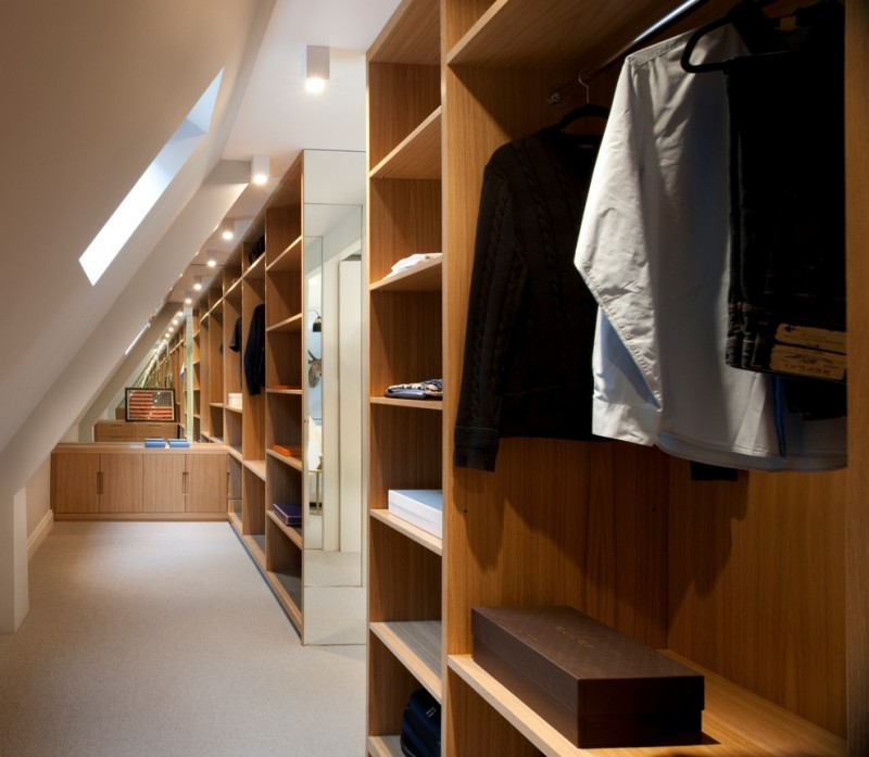wooden walk in closet idea in sloping roof dressing room sloping skylight wall mirror idea
