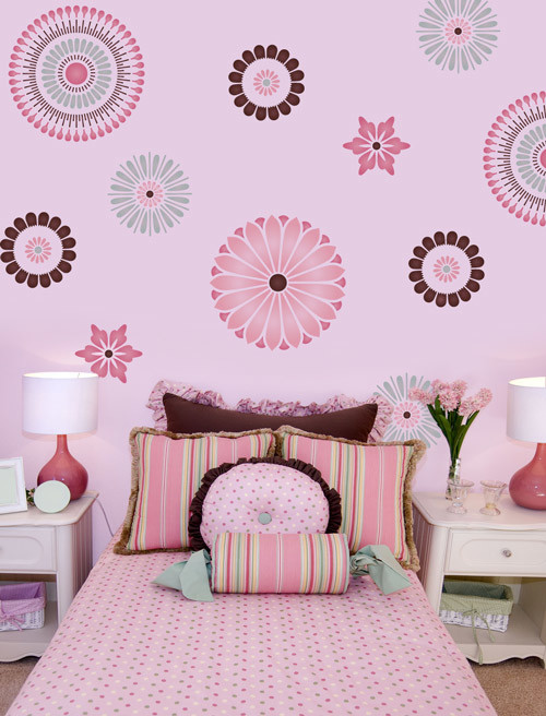 Japanese Stencil wall painting idea for kids room sweet pink bed linen with small motifs white bedside tables some accent pillows