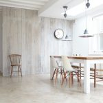 Scandanavian Style Dining Room With Whitewashed Wall Boards Simple Wood Top Dining Table Modern White Dining Chairs With Wood Base Medium Size Skylight White Polished Concrete Floors
