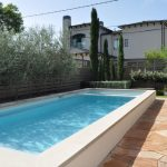 Above Ground Swimming Pool Natural Stone Pavers Green Bushes