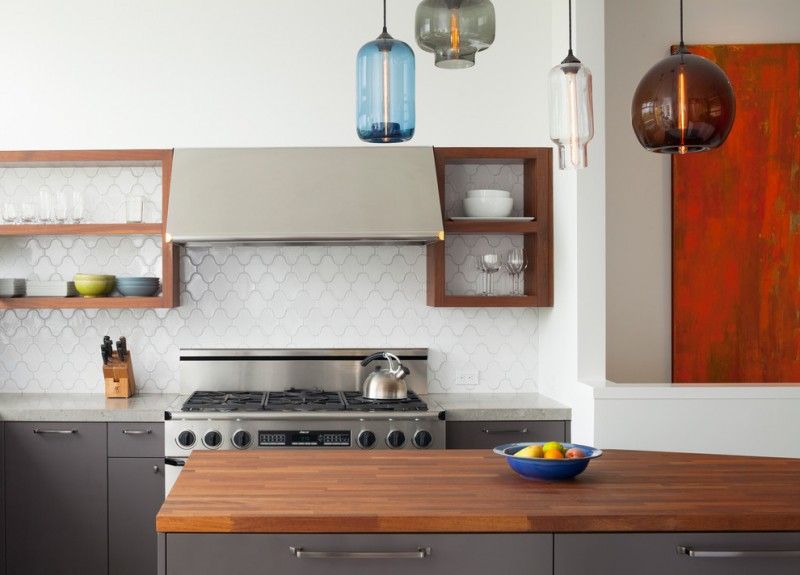 arabesque backsplash kitchen cabinet shelves hanging lamps contemporary room stove knives