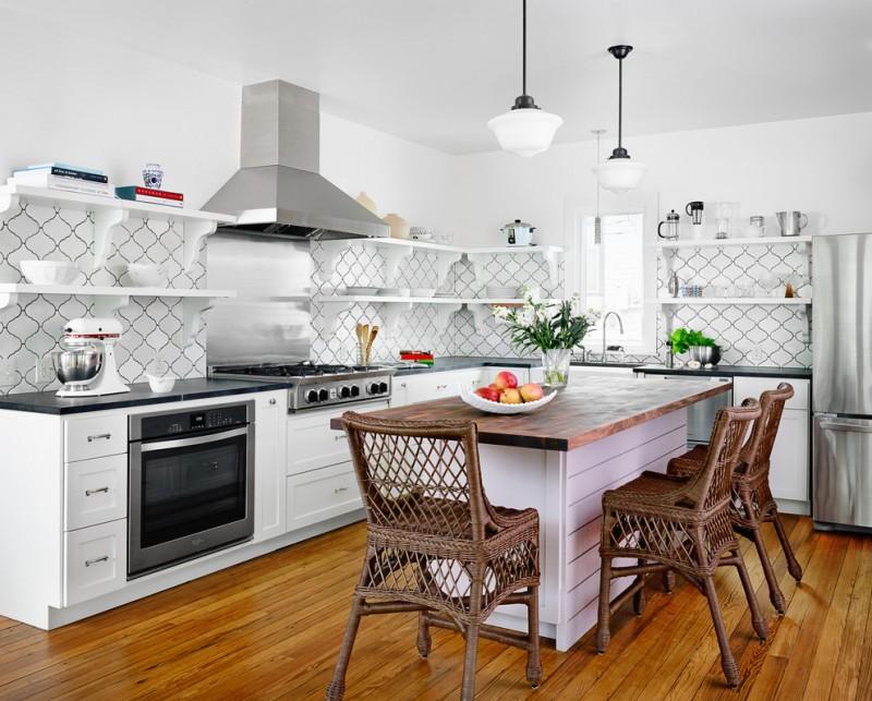 arabesque backsplash kitchen hardwood floor dining chairs shelves beach style room hanging lamps