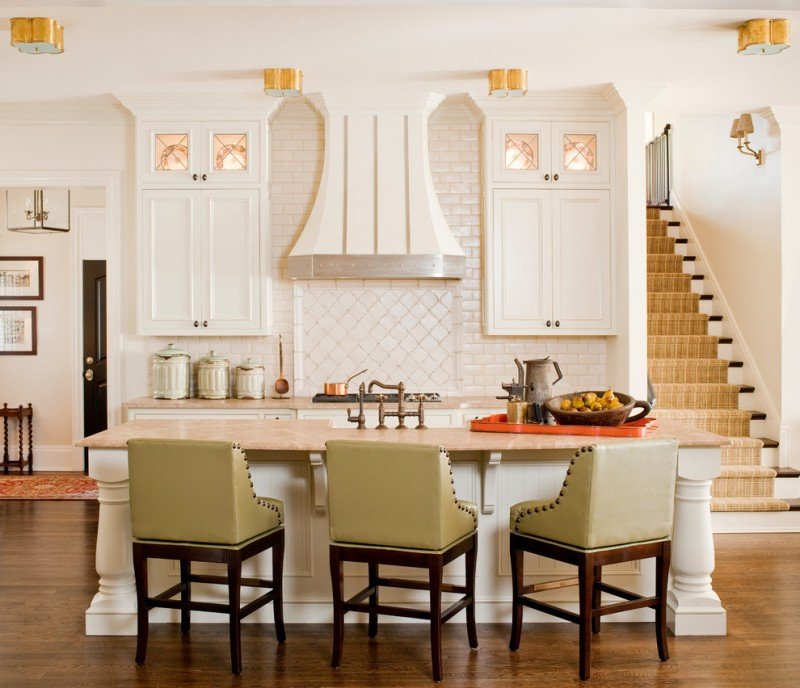 arabesque backsplash kitchen stairs hardwood floor wall lamp chairs traditional room wall cabinets