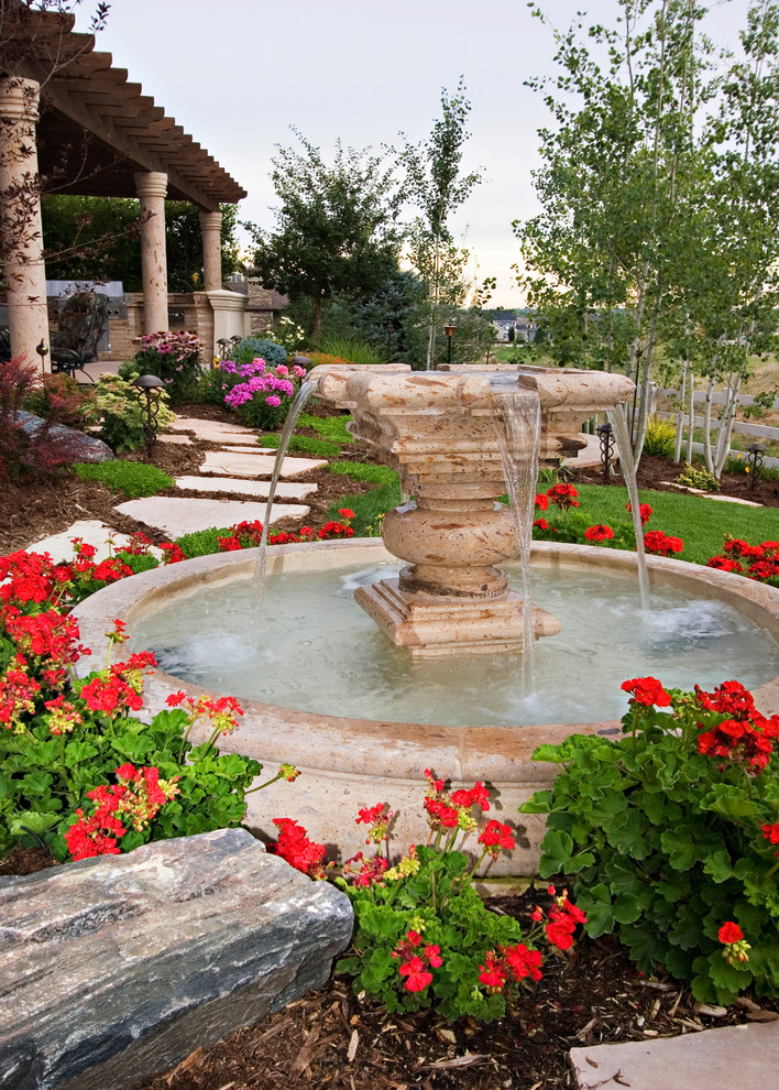 Trendy Beautiful Home Gardens With Fountains Flowers Landscape Plants Trees  Grass Pillars.