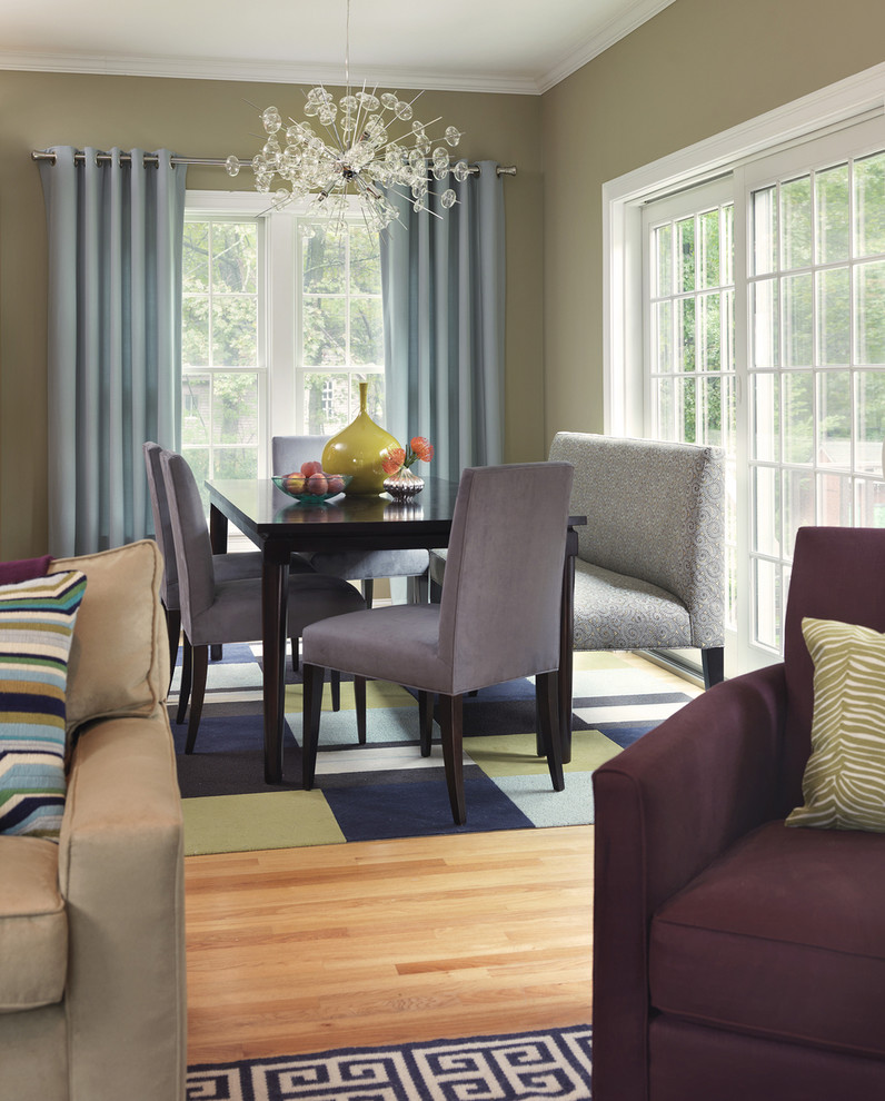 bench dining room table carpets chairs chandelier pillows transitional style curtains