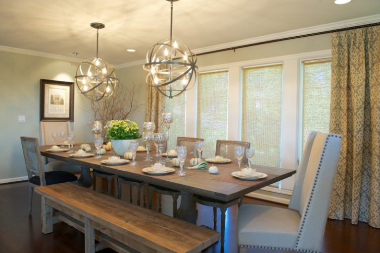 Bench Dining Room Table Curtains Chairs Ceiling Lights Transitional Chandeliers Windows