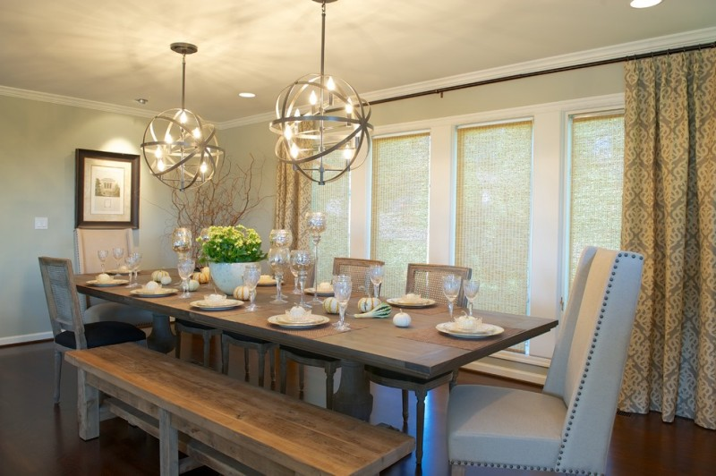 bench dining room table curtains chairs bench ceiling lights transitional chandeliers windows