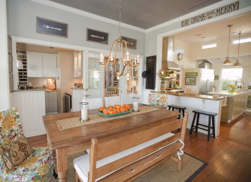 bench dining room table wood floor carpet pendants chairs farmhouse kitchen stools table cloth chandelier